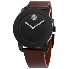 Movado Bold Tr90 Men's Black Dial Brown Leather Strap Watch 3600602