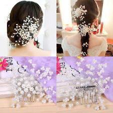 US Bridal Jewellery Rhinestone Crystal Wedding Flower Pearls Hair Comb Clip