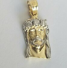 .30 carat 2 tone 10k  yellow white Gold Jesus face Pendant charm .80 inch long