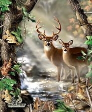 Realtree Deer in Forest Quilt / Wall Panel Buck & Doe Print Concepts #327
