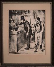 "Honore Daumier Signed Lithograph ""Ami De Personne"" with COA, Framed & Nice!"