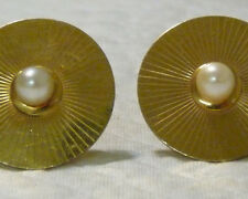 w/ Faux Pearl Round Cufflinks A153 Vintage Anson 1/20 12Kt Gold Filled
