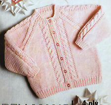 """Baby Cardigan Cable Knitting Pattern Vintage 4ply & DK Girl Children18-26""""  B611"""