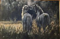 "Vintage Beautiful Original Oil On Canvas ""Out To Pasture"" Artist K.Sutton Framed"