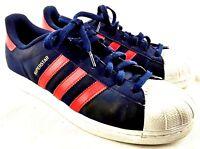 adidas Superstar C77387 men Sz 11 Blue  Suede Red Stripes Sneaker 192-23