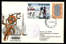 Postal History Belgium Scott #806+819 SABENA Airmail First Flight 1972 Singapore