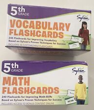 2 Pack Sylvan Learning 5th Grade Vocabulary & Math Boxed Sets 240 Cards Each