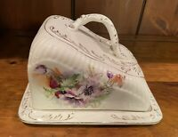 Vintage Victorian Porcelain Cheese Covered Dish Plate