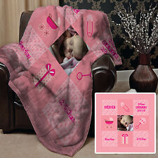 Personalised Baby Girl Pink Photo Design Soft Fleece Blanket Cover New Born