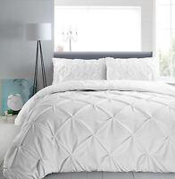 Hotel Quality 100%Cotton Pinch Pleat Pintuck Diamond Duvet Cover Bedding Set