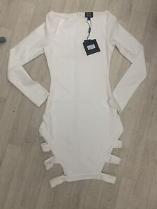 Missguided Women's Long Sleeve Bodycon Dress, Cut Out White - Size 6