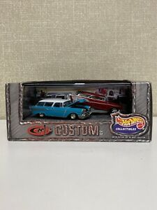Cool N Custom 100% Hot Wheels Black Box 57 Chevy Nomad Real Riders 2 car set