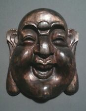 Vintage Chinese hand carved large Buddha face hanging, 11 inches