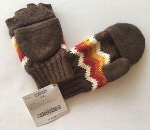 NWT Gymboree Alaskan Adventure Sz 3-4 Brown Fair Isle Convertible Glove Mittens