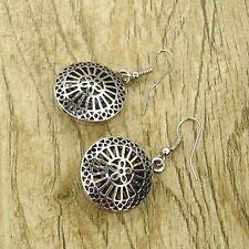 Retro Tibet Silver Tone Earrings round flower Dangle Women Charm Fashion Jewelry