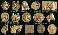15 Pcs STL 3D Models HORSE HEADS for CNC Router 3D Print Engraver Carving Aspire