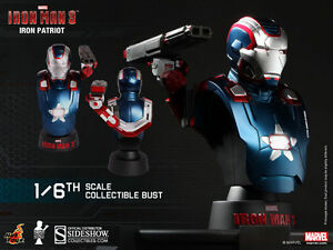 HOT TOYS IRON MAN 3 IRON PATRIOT 1/6 SCALE LIMITED EDITION BUST HTB15 NEW