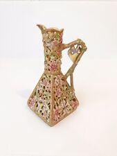 "Antique Zsolnay Reticulated Porcelain Vase Handle Floral Cream Pink Gilt 9""High"