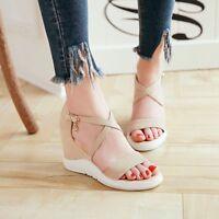 Womens Wedge High Heels Peep Toe Sandals Buckle Platform Solid Roman Shoes Party