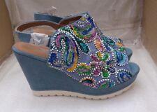 Arizona Ladies Blue Canvas Wedge Sandals with 3D Floral Pattern - EU 40/UK 6.5