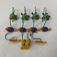 Curtain Hangers Tropical Shower Hooks 12 Set Themed Bathroom Decor Fish Turtles