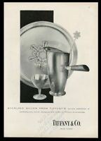 1955 Tiffany's sterling silver modern snowflake pitcher photo vintage print ad