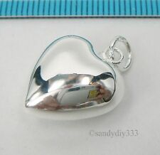 1x BRIGHT STERLING SILVER PLAIN PUFF HEART CHARM PENDANT 15mm #254