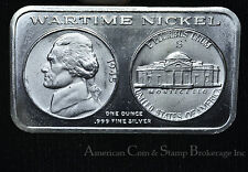 Silver Art Bar Sam Sloat Inc WarTime Nickel Buying AD 1oz .999 Scarce 10K minted