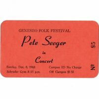 PETE SEEGER Concert Ticket Stub GENESEO NY 12/8/68 FOLK FEST TURN! TURN! TURN!