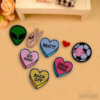 8Pcs Embroidery Alien Heart Sew On / Iron On Patch Badge Clothes Fabric Applique