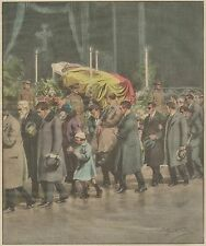K1267 Mutilati Belgi davanti Salma di Re Alberto - Stampa d'epoca - 1934 print