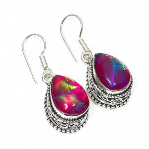 """Australian Triplet Opal Gemstone 925 Silver Jewelry Earring 1.50"""""""