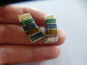 Chunky sterling silver multi gemstone mexican taxco Modernist Earrings