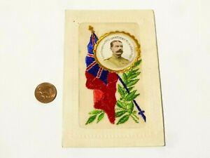 WW1 Lord Kitchener Portrait Inset French Embroidered Silk Postcard J Wilks #SP11