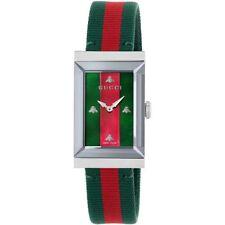 de14ac89881 Watch Gucci G-frame Woman Ya147404 Ladies Swiss Nylon Red Green Rectangular