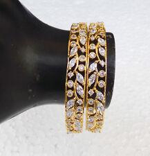Gorgeous Ethnic Indian Wedding Golden Bangles American Diamante Bracelet Set a14