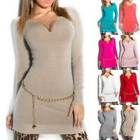 Women's Chain Neckline Long Tunic Sweater - One Size (S/M/L - 4/6/8)