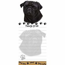 PUG BLACK DOG DIECUT LIST PAD NOTES NOTEPAD Magnetic Magnet Refrigerator