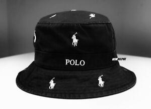 NWT POLO RALPH LAUREN MULTI PONY BEACHSIDE BUCKET HAT BLACK  S/M, L/XL