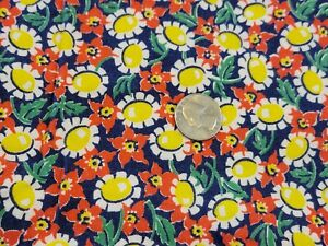 FULL Vintage feedsack, opened, Red-orange and yellow Flowers on Navy