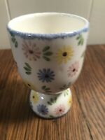 """Double Egg Cup Pastel Flowers 3.5"""" Blue/Pink/Yellow/Green CERAMIC"""