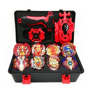 8pcs Red Beyblade Burst Turbo Spinning Top Starter Grip Battle Launcher Box Set