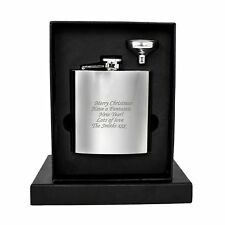 Personalised Engraved Stainless Steel 6oz Hip Flask,Funnel and Moulded Gift Box