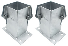"""Fence Post Shoe Bolt Down FLUSH FIT *PACK of 2* 100mm/4"""" Decking GALVANISED"""