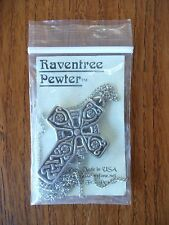 HAND MADE IN USA Raventree Pewter Elbe Celtic Cross Necklace Pendant NWT
