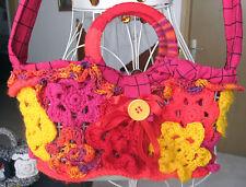 HANDMADE WOOL CROCHETED BAG PURSE BAG DEPTH 6.5 BAG LENGTH 13 PINKS AND YELLOW