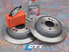 Mini Cooper S r53 r56 Grooved Brake Discs Rear GTT Spiroslot + Performance Pads.