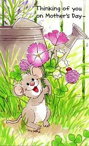 Suzy's Zoo Mother's Day Greeting Card - Herkimer Mouse with Flowers