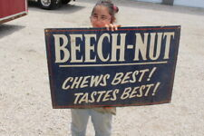 """Large Beech-Nut Chews Best! Tastes Best! Chewing Tobacco Gas Oil 36"""" Metal Sign"""