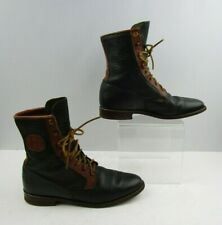 Ladies Justin Brown / Navy Blue Leather Roper Lace Up Boots Size: 6.5 B
